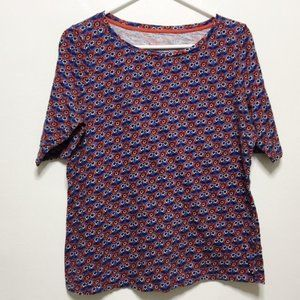 Boden Red and Blue 3/4 Sleeve Top